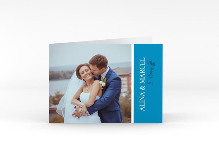 "Danksagungskarte Hochzeit ""Classic"" A6 Klappkarte Quer blau"