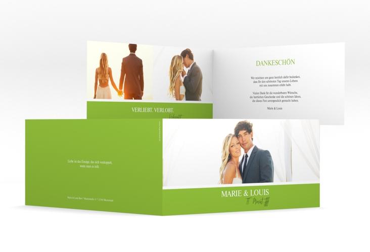 """Danksagungskarte Hochzeit  """"Balance"""" DIN lang Klappkarte gruen"""