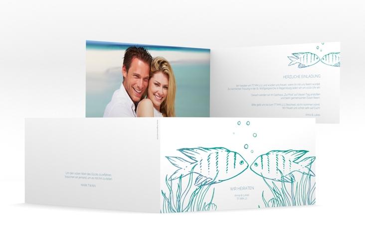"Hochzeitseinladung ""Ocean"" DIN lang Klappkarte"