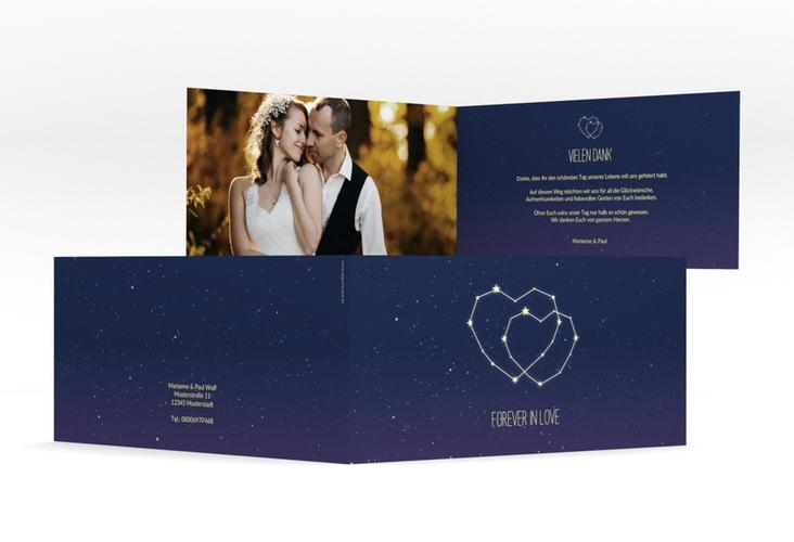 """Danksagungskarte Hochzeit """"Sternenbild"""" DIN lang Klappkarte blau"""