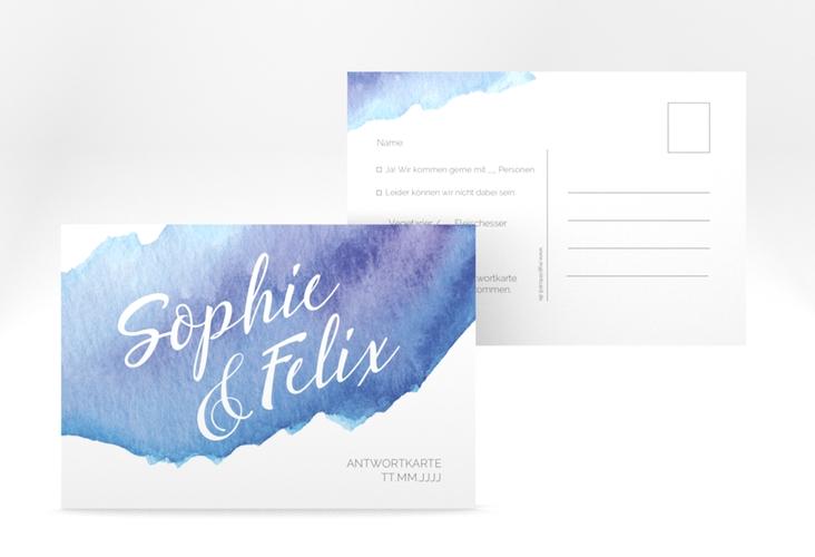 "Antwortkarte Hochzeit ""Aquarella"" A6 Postkarte blau"