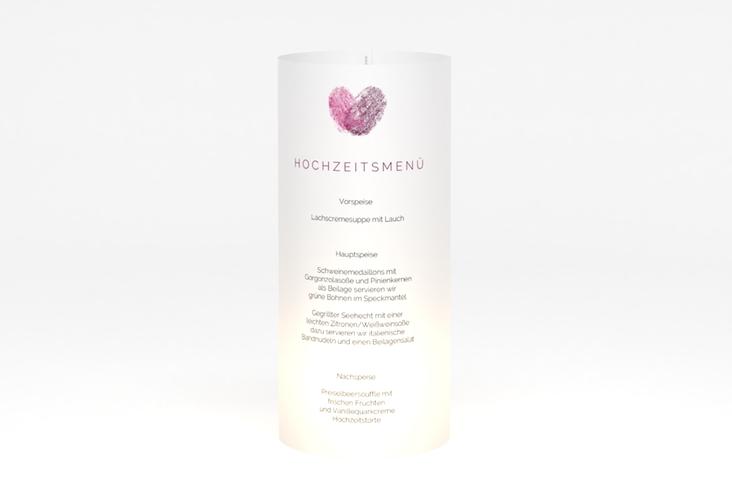 """Windlicht Menü Hochzeit """"Fingerprint"""" Windlicht pink"""