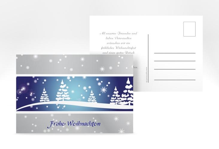 """Weihnachtskarte """"Magical"""" A6 Postkarte blau"""