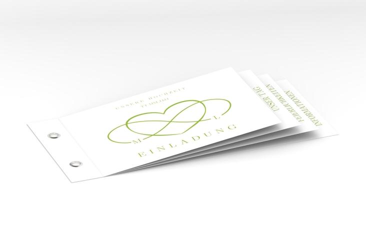 """Hochzeitseinladung """"Infinity"""" Booklet gruen"""