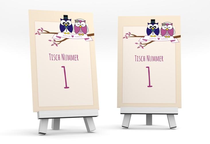 """Tischnummer Hochzeit """"Eulenliebe"""" Tischaufsteller beige"""