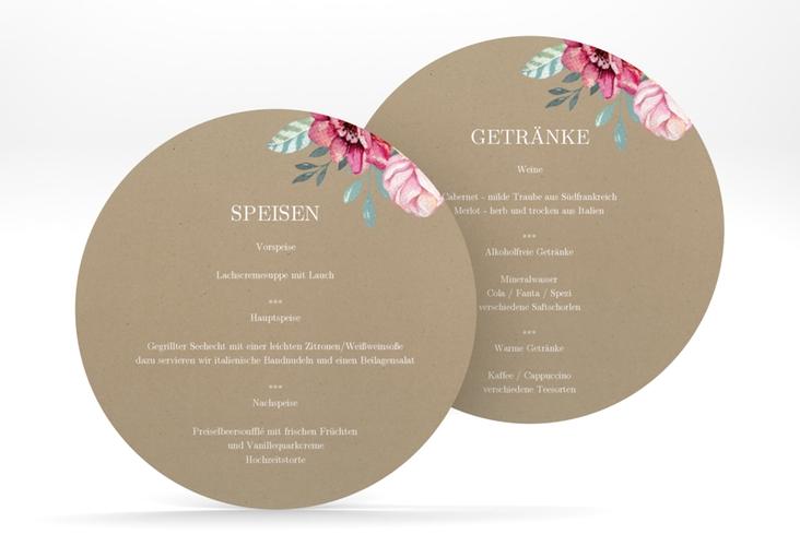 """Menükarte Hochzeit """"Blooming"""" rund braun"""