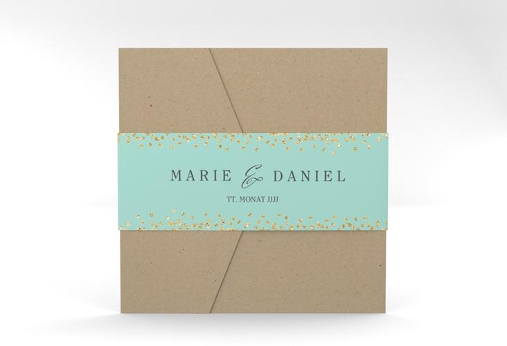 """Hochzeitseinladung """"Glitter"""" Pocketfold mint"""