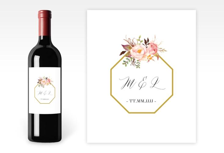 """Weinetikett zur Hochzeit """"Prachtvoll"""" Etikett Weinflasche 4er Set weiss"""