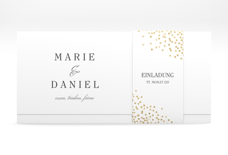 """Hochzeitseinladung """"Glitter"""" DIN lang Wickelfalz"""