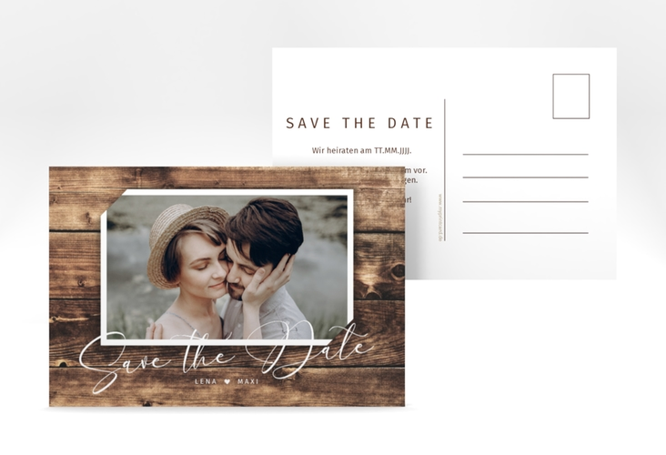 "Save the Date-Postkarte ""Rustic"" A6 Postkarte"