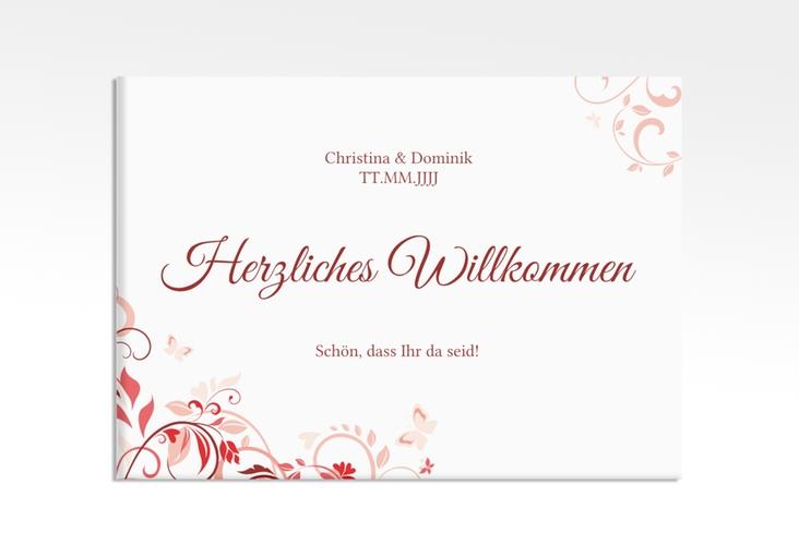 "Willkommensschild Leinwand ""Lilly"" 70 x 50 cm Leinwand rot"