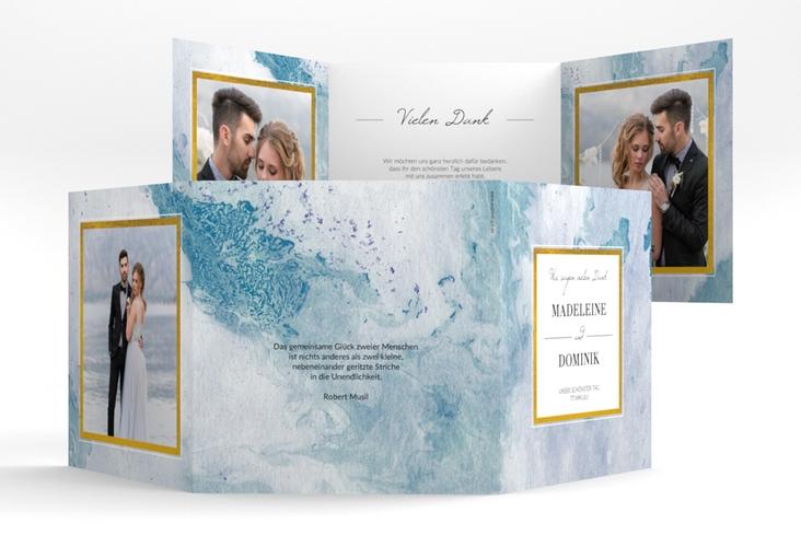 "Dankeskarte Hochzeit ""Marble"" Quadr. Karte doppelt blau"