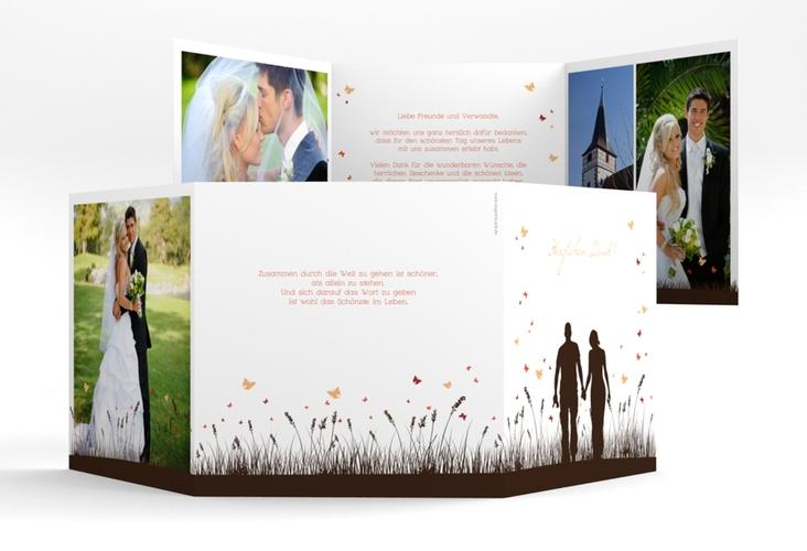 "Danksagungskarte Hochzeit ""Rouen"" Quadr. Karte doppelt braun"