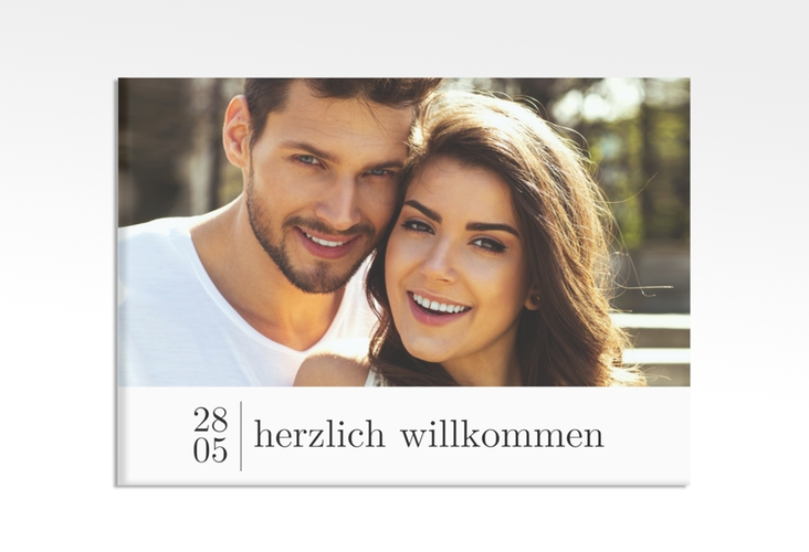"""Willkommensschild Hochzeit """"Minimal"""" 70 x 50 cm Leinwand weiss"""