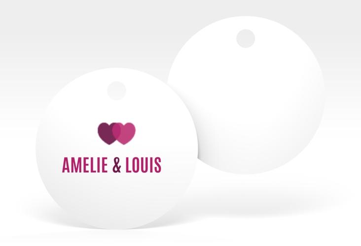 """Geschenkanhänger Hochzeit """"Couple"""" Geschenkanhänger, rund pink"""