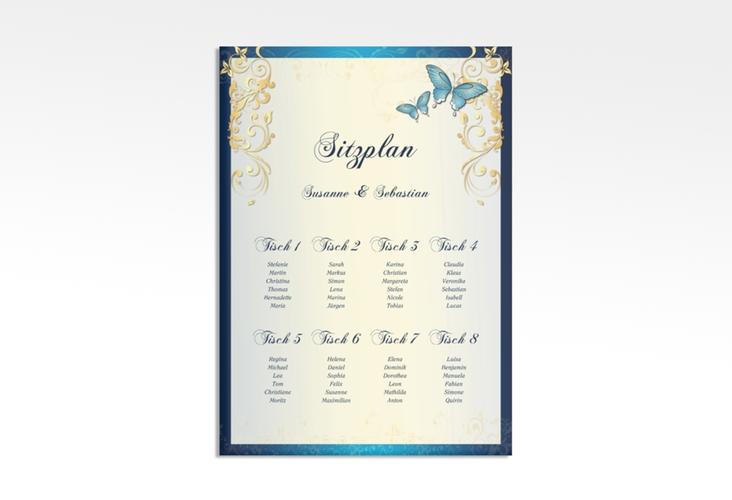 """Sitzplan Leinwand Hochzeit """"Toulouse"""" 50 x 70 cm Leinwand blau"""