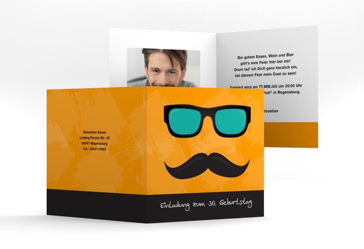 """Einladungskarte """"Stefan"""" Quadratische Klappkarte"""