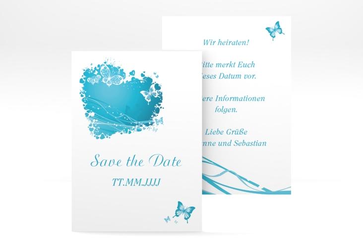 "Save the Date-Visitenkarte ""Mailand"" Visitenkarte tuerkis"