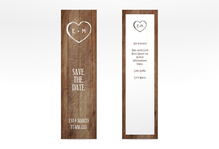 """Save the Date-Lesezeichen """"Wood"""" Lesezeichen braun"""