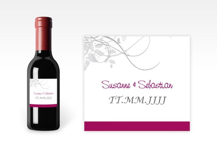 """Piccoloetikett Hochzeit """"Florenz"""" Etikett Piccolo pink"""