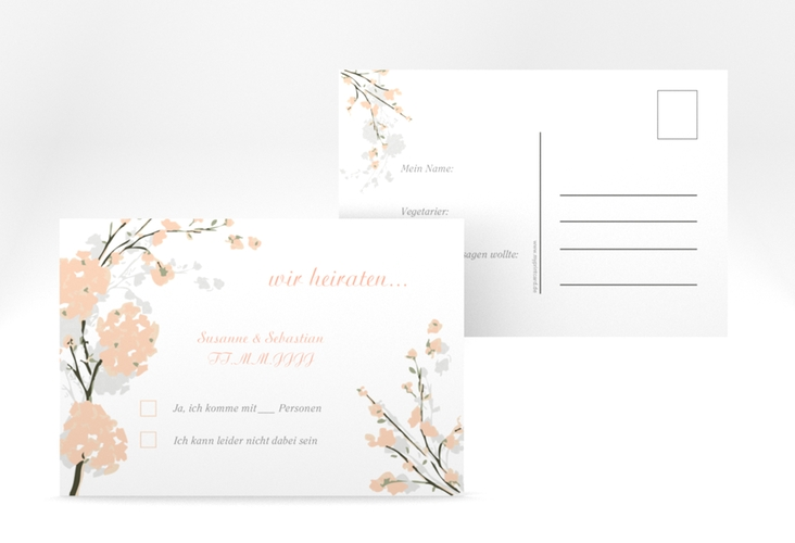 "Antwortkarte Hochzeit ""Salerno"" A6 Postkarte apricot"