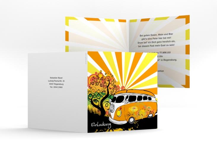 """Einladungskarte """"Heiko/Heike"""" Quadratische Klappkarte"""
