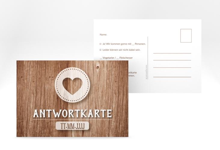 """Antwortkarte Hochzeit """"Flair"""" A6 Postkarte braun"""