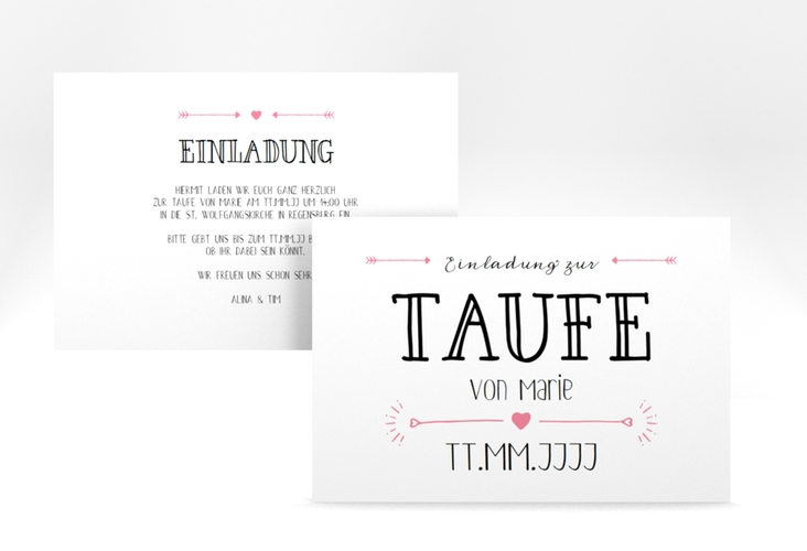 "Taufeinladung ""Lettering"" A6 quer rosa"