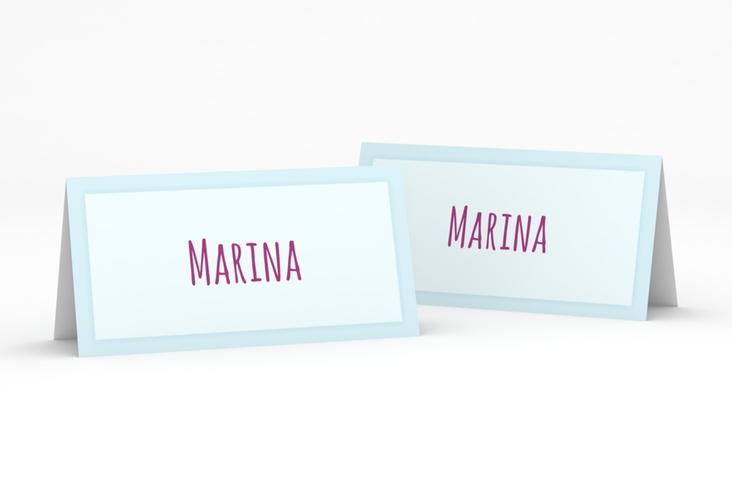 """Tischkarte Hochzeit """"Eulenliebe"""" Tischkarten blau"""