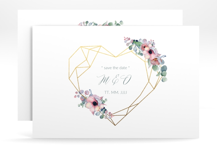 "Save the Date-Karte ""Herzgold"" A6 quer weiss"