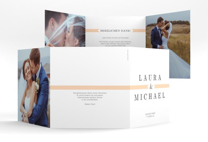 """Dankeskarte Hochzeit """"Tender"""" Quadr. Karte doppelt beige"""