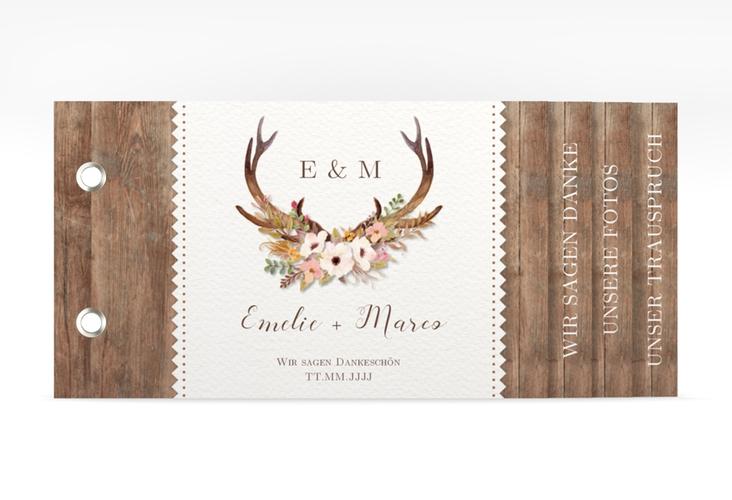 """Danksagungskarte Hochzeit """"Heimatjuwel"""" Booklet braun"""