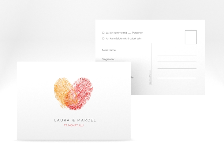 "Antwortkarte Hochzeit ""Fingerprint"" A6 Postkarte rot"
