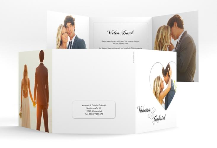 "Dankeskarte Hochzeit ""Sweetheart"" Quadr. Karte doppelt weiss"