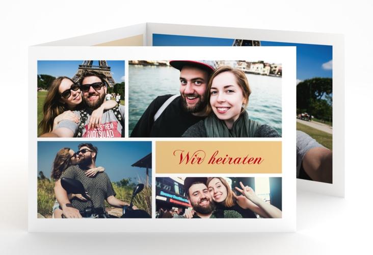 """Hochzeitseinladung """"Collage"""" A6 doppelt geklappt"""