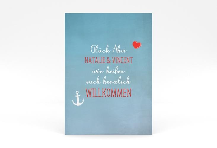 """Willkommensschild Poster """"Ehehafen"""" 50 x 70 cm Poster blau"""