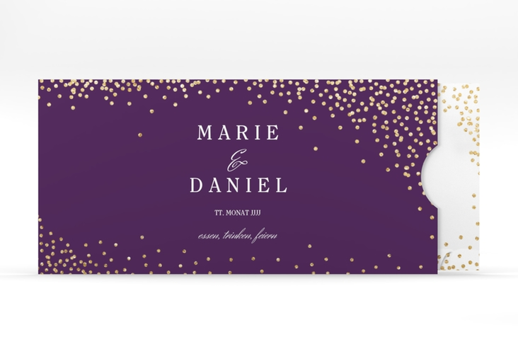 """Hochzeitseinladung """"Glitter"""" Einsteckkarte lila"""