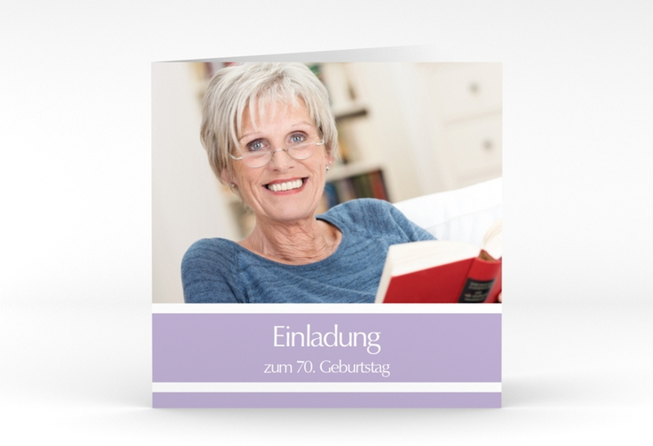 "Einladungskarte ""Gerd/Gerda"" Quadratische Klappkarte lila"