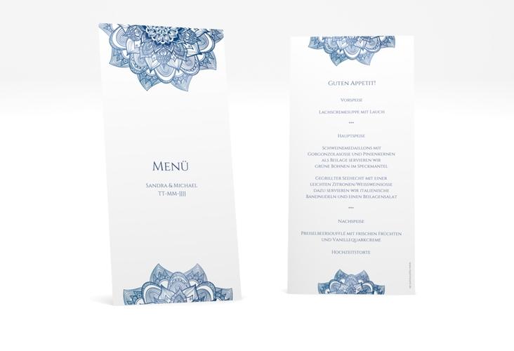 """Menükarte Hochzeit """"Delight"""" DIN lang hoch blau"""