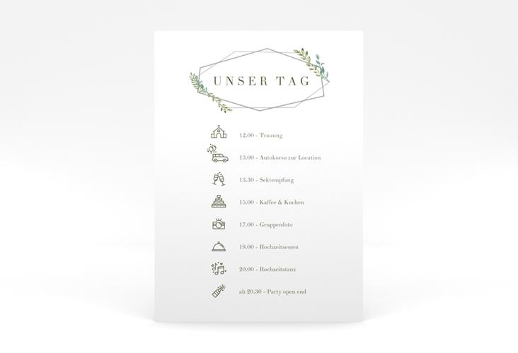 """Tagesablauf Poster Hochzeit """"Herbarium"""" 50 x 70 cm Poster grau"""