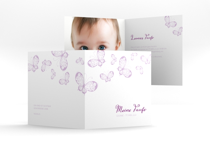 "Einladung Taufe ""Protection"" Quadratische Klappkarte lila"