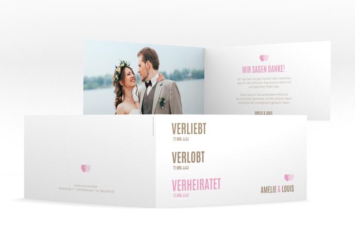 "Danksagung Hochzeit ""Couple"" DIN lang Klappkarte rosa"