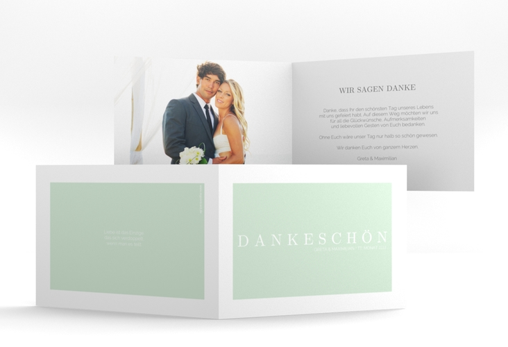 "Dankeskarte Hochzeit ""Simply"" A6 Klappkarte Quer mint"