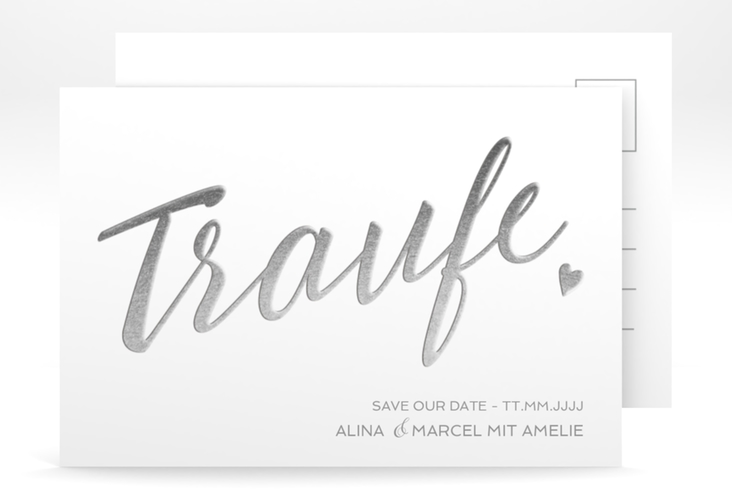"Save the Date-Postkarte ""Traufe"" A6 Postkarte weiss"