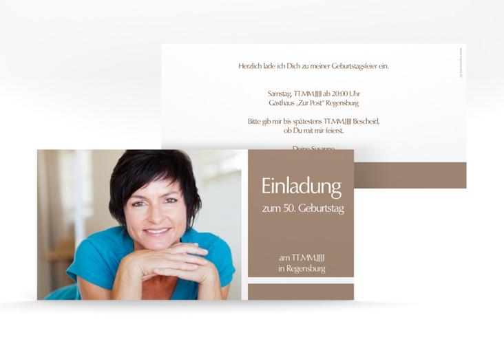 """Einladungskarte """"Gerd/Gerda"""" DIN lang braun"""