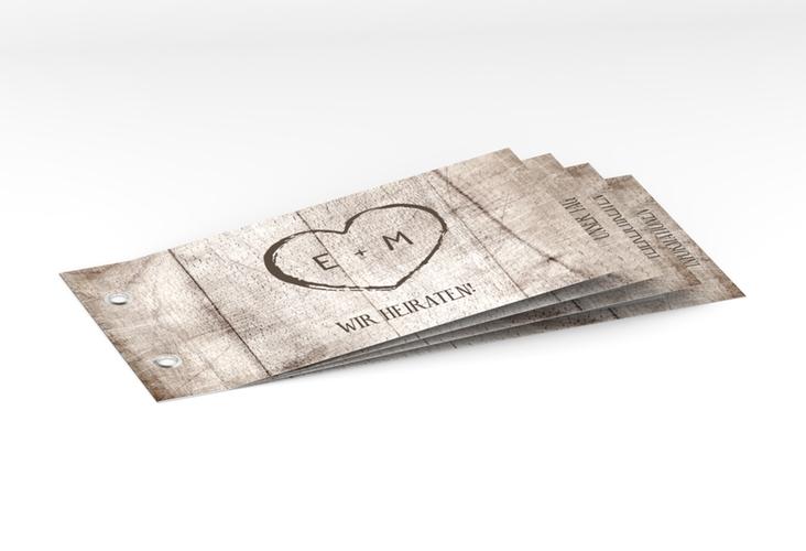 """Hochzeitseinladung """"Wood"""" Booklet weiss"""