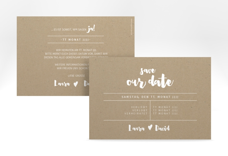 """Save the Date-Karte """"Letterbox"""" A6 quer beige"""