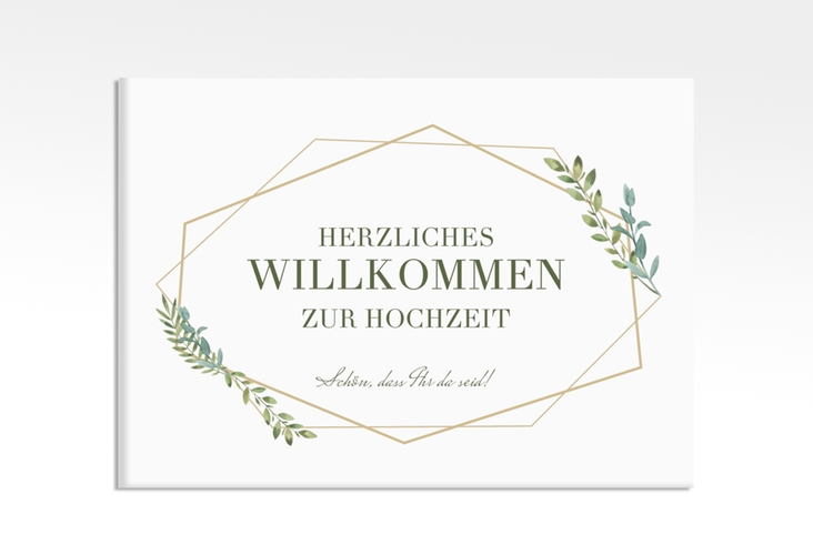"""Willkommensschild Leinwand """"Herbarium"""" 70 x 50 cm Leinwand gold"""