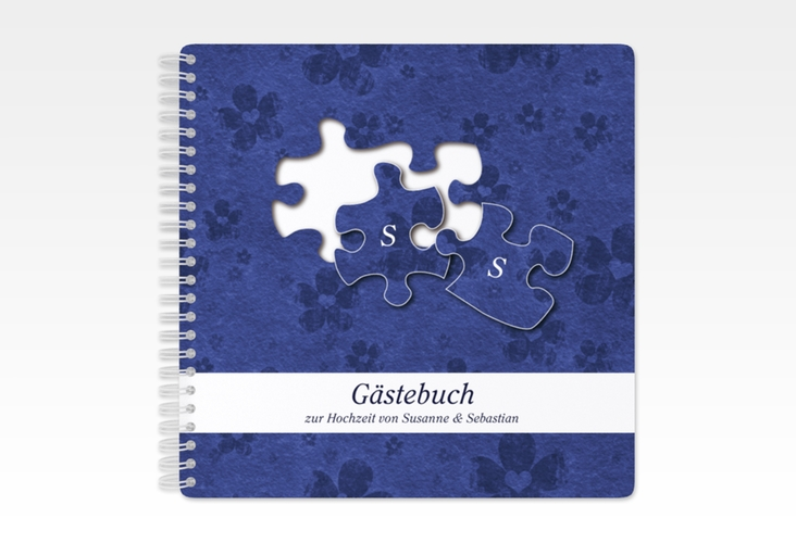 "Gästebuch Hochzeit ""Ravensburg"" Ringbindung blau"