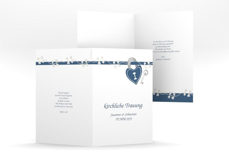 """Kirchenheft Hochzeit """"Oviedo"""" DIN A5 geklappt blau"""